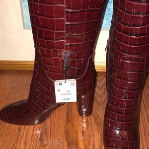 Zara Shoes - Zara Crocodile Print leather boots